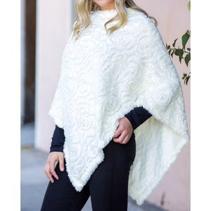 Sweaters - Faux Fur Ponchos with Pearl Detail